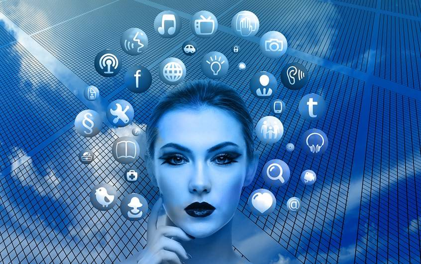 Woman's head surrounded by web icons