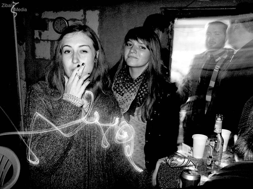 Young people smoking and drinking