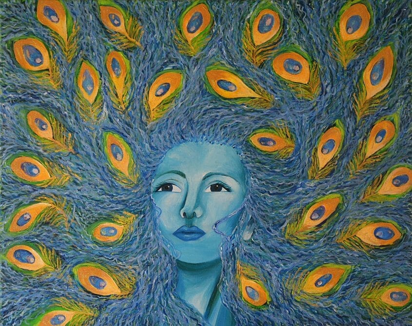 Woman with peacock feathers for hair