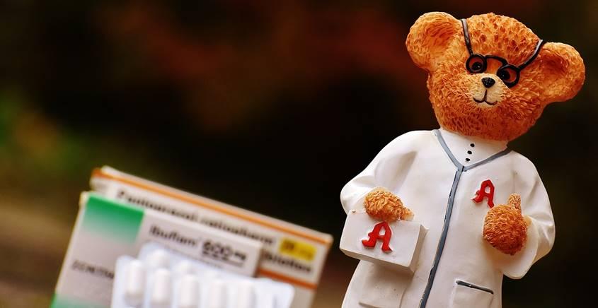 Teddy bear dressed as a doctor