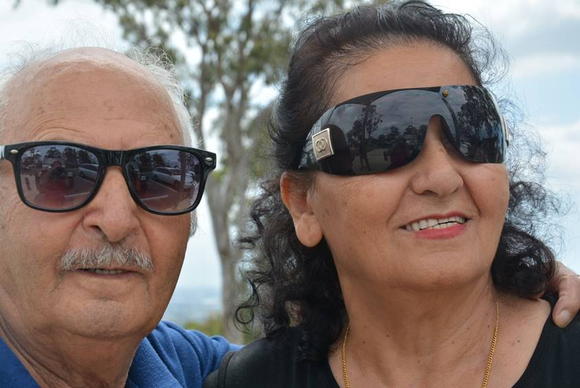Old couple in sunglasses