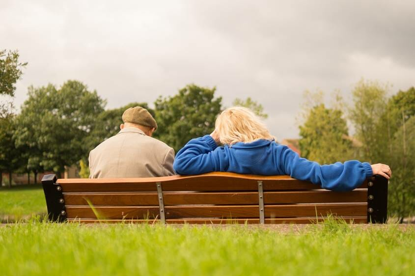 Old couple on a park Bench