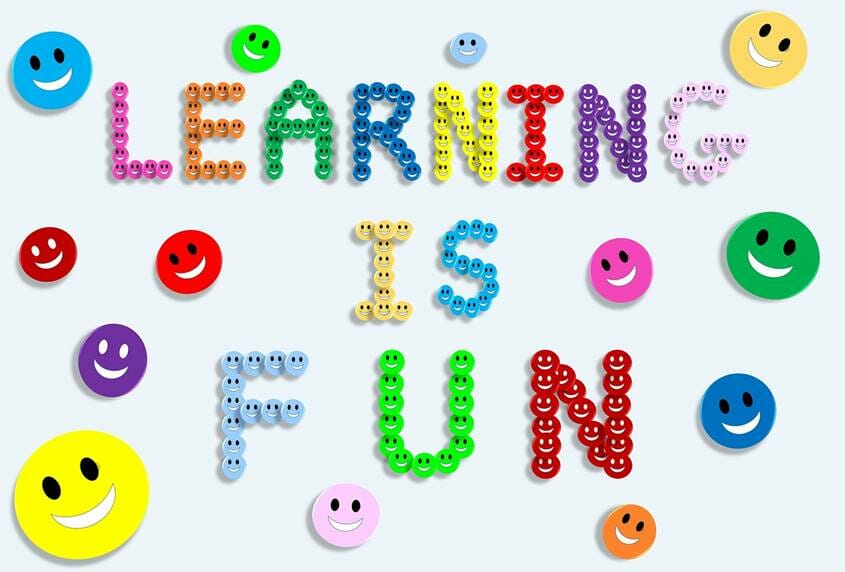Learning is Fun written with smilies