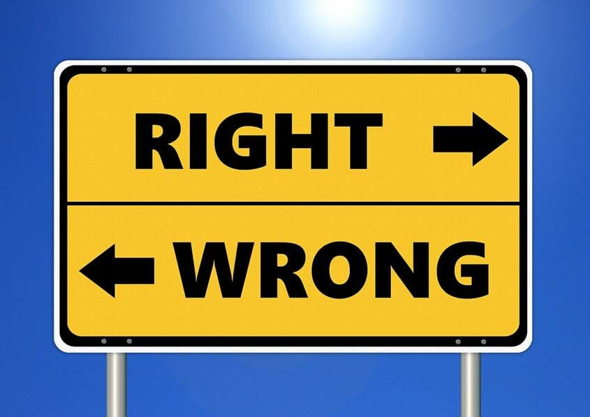 Road signs leading to Right and Wrong