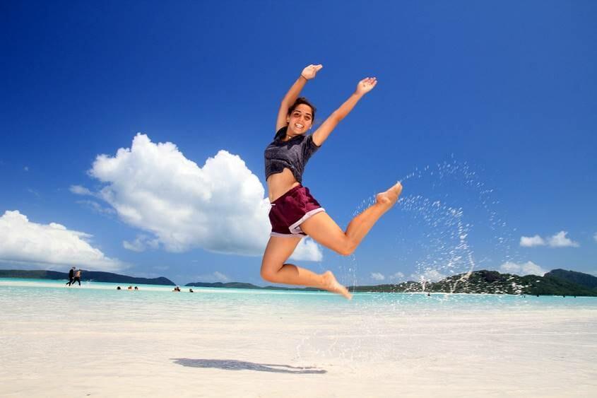 Noff Baras jumping for joy