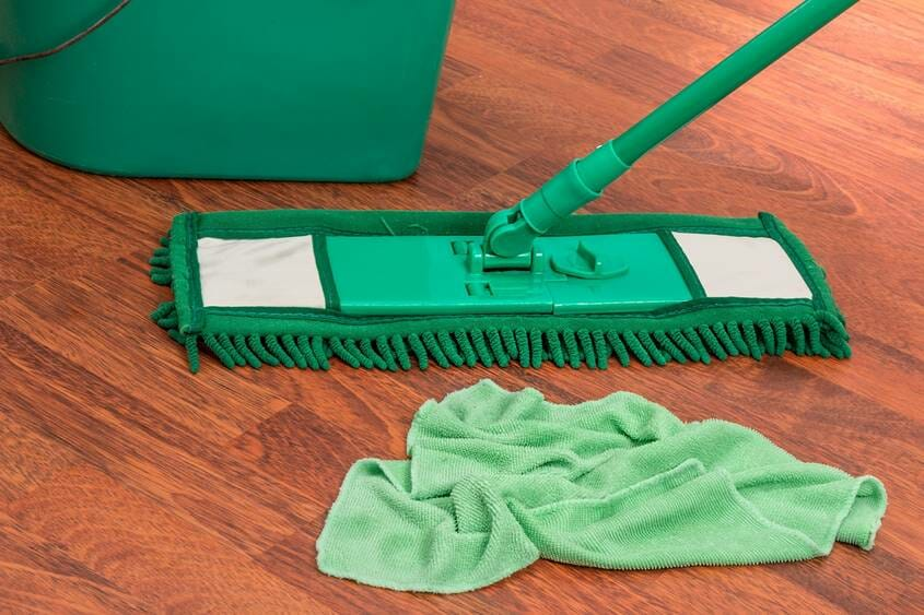Mop, rag and bucket for cleaning the floor