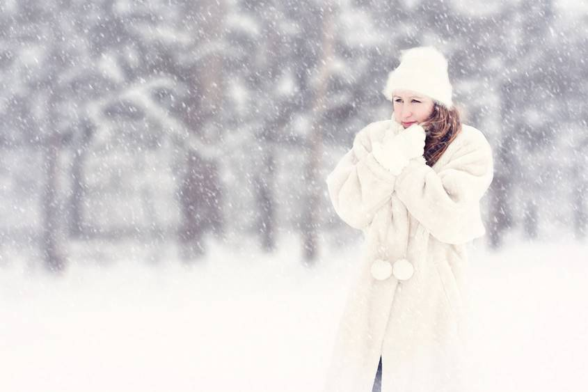Woman in a snow storm