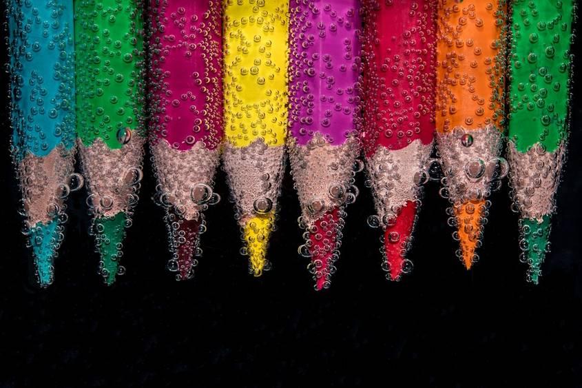 Pencils in rainbow colors