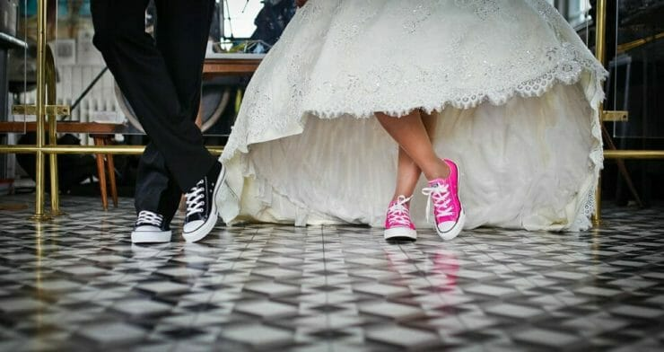 Bride and groom with sneakers