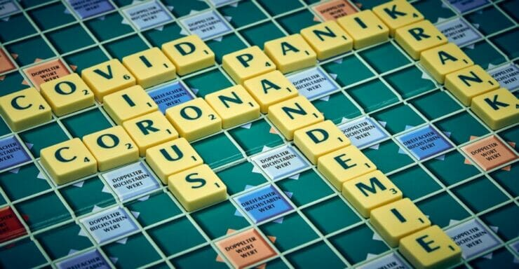 A game of Scrabble with COVID-19 pandemic words