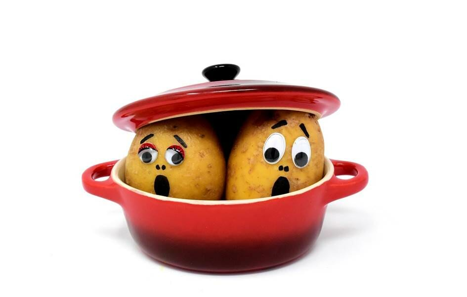 Frightened potatoes in a pot