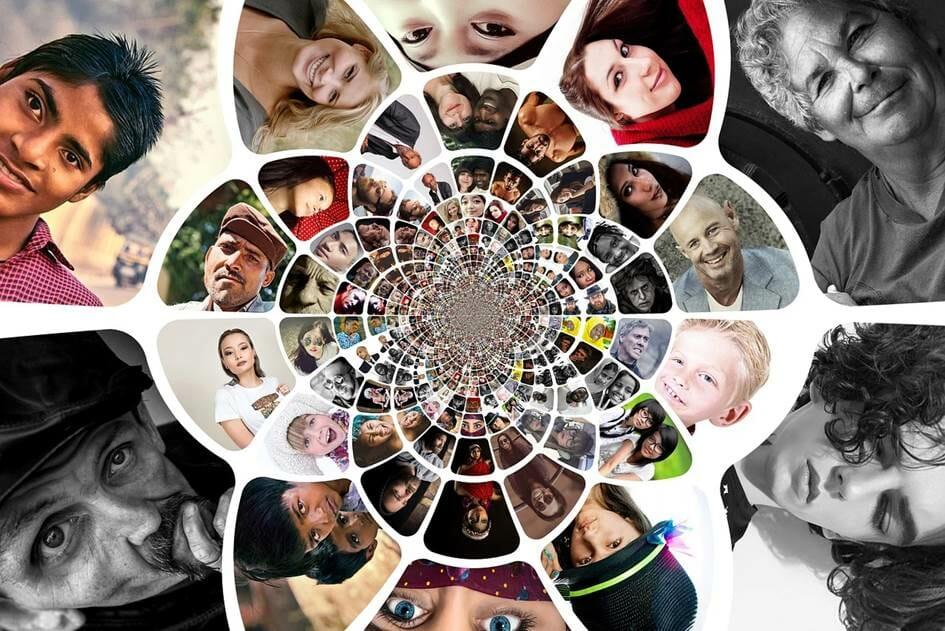 Kaleidoscope of people