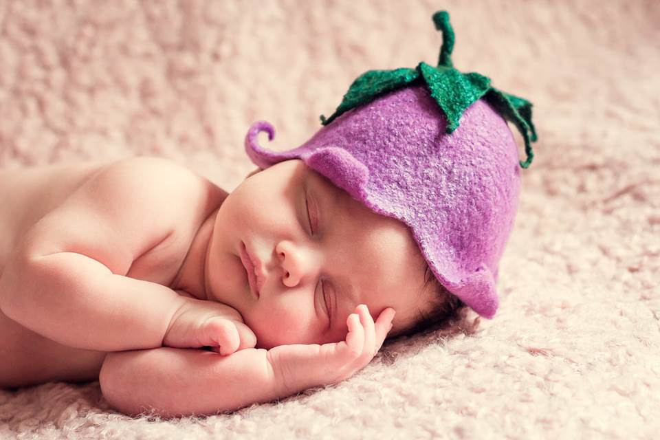 Sleeping baby with cute hat