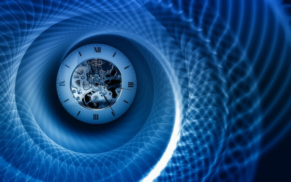 Clock in the middle of a spiral - symbolizing going back in time