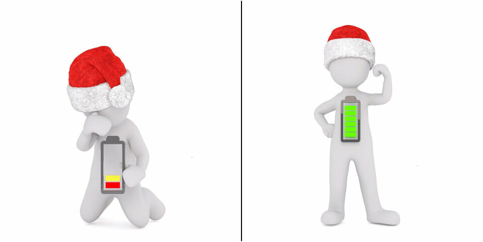 Man with drained batter and Christmas hat and man with full battery and Christmas hat