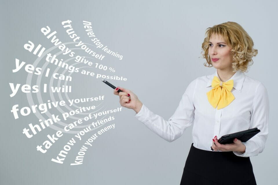 Woman pointing to success rules